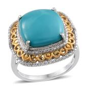 Arizona Sleeping Beauty Turquoise, Diamond 14K YG and Platinum Over Sterling Silver Ring (Size 7.0) TDiaWt 0.01 cts, TGW 7.510 cts.