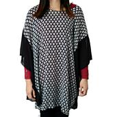 J Francis - Black and White Checks Pattern 100% Polyester Poncho