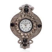 STRADA Black and Gray Austrian Crystal Japanese Movement Bracelet Watch in Brasstone