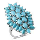 Arizona Sleeping Beauty Turquoise Platinum Over Sterling Silver Ring (Size 8.0) TGW 7.020 cts.