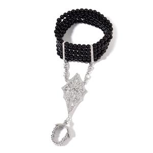 TLV Black Glass Pearl, Austrian Crystal Bracelet with Ring in Silvertone (Stretchable)