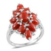 Mediterranean Coral, Diamond Platinum Over Sterling Silver Ring (Size 6.0) TDiaWt 0.01 cts, TGW 5.610 cts.