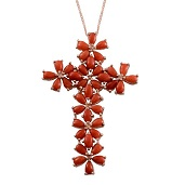 Mediterranean Coral 14K RG Over Sterling Silver Cross Pendant With Chain (16-18 in) TGW 6.85 Cts.