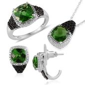 Helenite, Thai Black Spinel, Diamond Platinum Over Sterling Silver Ring (Size 7), J-Hoop Earrings and Pendant With Stainless Steel Chain (20 in) TDiaWt 0.03 cts, TGW 11.150 cts.