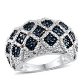 Blue Diamond (IR), Diamond Platinum Over Sterling Silver Ring (Size 9.0) TDiaWt 0.33 cts, TGW 0.330 cts.