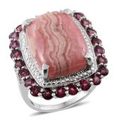 Argentinian Rhodochrosite, Orissa Rhodolite Garnet, Diamond Platinum Over Sterling Silver Ring (Size 7.0) TDiaWt 0.03 cts, TGW 23.780 cts.