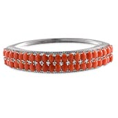 Mediterranean Coral, Diamond Platinum Over Sterling Silver Bangle (7.5 in) TDiaWt 0.030Cts., TGW 18.50 Cts.
