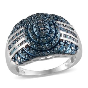 Blue Diamond (IR) Platinum Over Sterling Silver Ring (Size 6.0) TDiaWt 0.50 cts, TGW 0.500 cts.