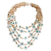 White Shell, Lab Created Cats Eye Blue Necklace (18 in) TGW 170.00 Cts.
