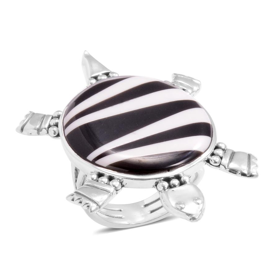 Santa Fe Style Black Onyx, White Buffalo Sterling Silver Turtle Turquoise Ring (Size 8.0) TGW 17.700 cts.