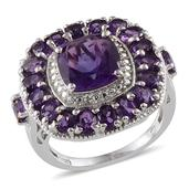 Uruguayan Amethyst, Diamond Platinum Over Sterling Silver Ring (Size 10.0) TDiaWt 0.03 cts, TGW 6.830 cts.