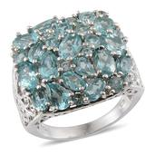 Madagascar Paraiba Apatite Platinum Over Sterling Silver Ring (Size 10.0) TGW 7.820 cts.