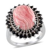 Argentinian Rhodochrosite, Thai Black Spinel Platinum Over Sterling Silver Ring (Size 8.0) TGW 18.250 cts.