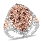 Red Diamond (IR), Diamond 14K RG and Platinum Over Sterling Silver Ring (Size 6.0) TDiaWt 0.50 cts, TGW 0.500 cts.