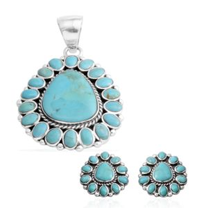 Santa Fe Style Kingman Turquoise Sterling Silver Earrings and Pendant without Chain TGW 63.80 cts.