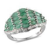 Kagem Zambian Emerald Platinum Over Sterling Silver Ring (Size 6.0) TGW 3.220 cts.
