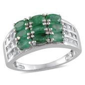 Kagem Zambian Emerald, White Topaz Platinum Over Sterling Silver Ring (Size 7.0) TGW 3.700 cts.