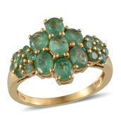 Kagem Zambian Emerald 14K YG Over Sterling Silver Ring (Size 7.0) TGW 3.25 cts.