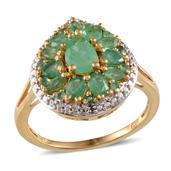 Kagem Zambian Emerald, Diamond 14K YG Over Sterling Silver Ring (Size 10.0) TDiaWt 0.01 cts, TGW 2.660 cts.