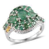 Kagem Zambian Emerald, Diamond 14K YG and Platinum Over Sterling Silver Ring (Size 7.0) TDiaWt 0.02 cts, TGW 3.325 cts.