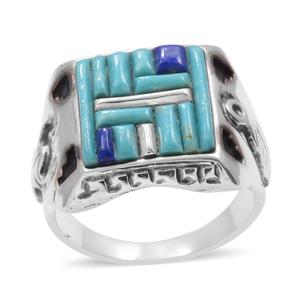 Santa Fe Style Turquoise, Lapis Lazuli Sterling Silver Ring (Size 12.0) TGW 1.76 cts.