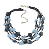 Multi Color Glass Seed Bead Necklace in Silvertone (16 in)