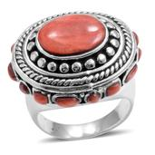 Santa Fe Style Spiny Oyster Red Shell Sterling Silver Ring (Size 6.0)