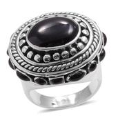 Santa Fe Style Black Onyx Sterling Silver Ring (Size 6.0) TGW 3.510 cts.