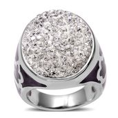 White Austrian Crystal Stainless Steel Ring (Size 6.0)