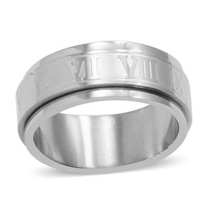 Stainless Steel Roman Numeral Spinner Ring (Size 6.0)