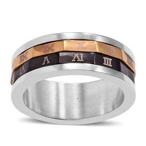 ION Plated YG, Black and Stainless Steel Roman Numeral Spinner Band Ring (Size 6.0)