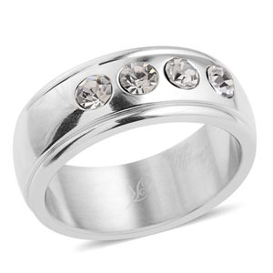 Simulated Diamond Stainless Steel Ring (Size 7.0) TGW 1.720 cts.
