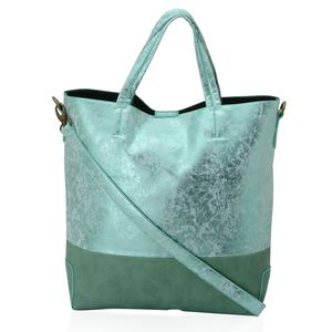 Green Faux Leather Tote Bag (13x5x15 in)