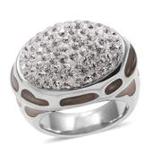 Austrian Crystal, White Enamel Stainless Steel Ring (Size 9.0)