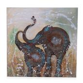 Wooden 2 Elephant Hand Painted (32x32 in)