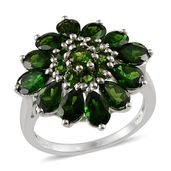 Russian Diopside Platinum Over Sterling Silver Ring (Size 8.0) TGW 5.190 cts.