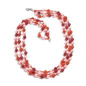 Glass Pearl, Magenta Quartzite, Red Agate Necklace (20 in) in Silvertone TGW 154.390 cts.