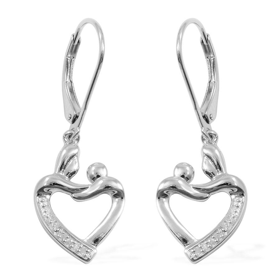 Diamond (Rnd) Accent Heart Lever Back Earrings in Sterling Silver Nickel Free TDiaWt 0.080Cts., TGW 0.08 Cts.