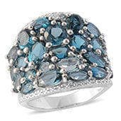 London Blue Topaz Sterling Silver Ring (Size 9.0) TGW 8.440 cts.