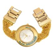 STRADA Austrian Crystal Japanese Movement Watch in Goldtone and Stainless Steel Back with Multi Strand Strap (7 In)