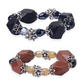 Blue and Red Goldstone, Freshwater Black Pearl, Blue and Champagne Glass Set of 2 Bracelet in Silvertone (7.5 in) TGW 42.00 Cts.