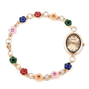 STRADA Multi Color Austrian Crystal Japanese Movement Bracelet Watch (9 in) in Goldtone with Stainless Steel Back