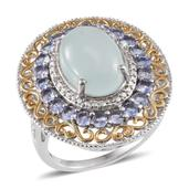 Brazilian Milky Aquamarine, Tanzanite, Diamond 14K YG and Platinum Over Sterling Silver Ring (Size 7.0) TGW 8.67 cts.