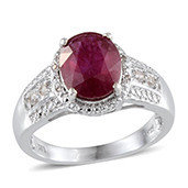 Niassa Ruby, White Topaz Platinum Over Sterling Silver Ring (Size 10.0) TGW 5.60 cts.