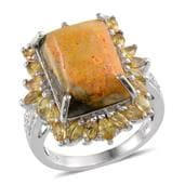 Bumble Bee Jasper, Yellow Sapphire, Diamond Platinum Over Sterling Silver Ring (Size 7.0) TDiaWt 0.03 cts, TGW 12.860 cts.