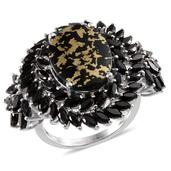 Goldenite, Thai Black Spinel Platinum Over Sterling Silver Ring (Size 7.0) TGW 15.550 cts.
