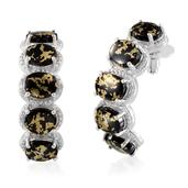 Goldenite, Diamond Platinum Over Sterling Silver Earrings TDiaWt 0.02 cts, TGW 18.020 cts.