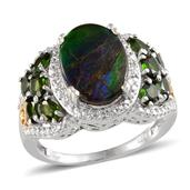 Canadian Ammolite, Russian Diopside, Diamond 14K YG and Platinum Over Sterling Silver Ring (Size 9.0) TDiaWt 0.02 cts, TGW 5.521 cts.
