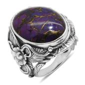 Bali Legacy Collection Mojave Purple Turquoise Sterling Silver Ring (Size 9.0) TGW 18.420 cts.