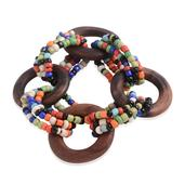 Multi Color Seed Bead Stretchable Bracelet with Wooden Clasp